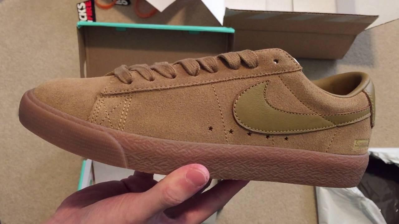 Supreme X Nike Sb Blazer Low Gt Tan Sneaker Unboxing