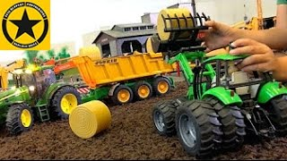 BRUDER Toys TRACTOR FARM WORLD all machinery in! JOHN DEERE and DEUTZ Hay Harvest