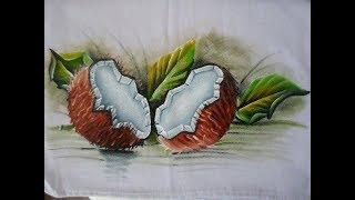 Como pintar coco aberto sem casca em tecido