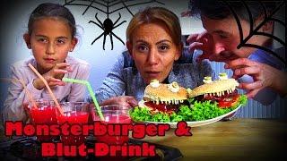 HALLOWEEN PARTYFOOD SNACKS | Gruselmenü Monsterburger Blutdrink einfach schnell | CuteBabyMiley