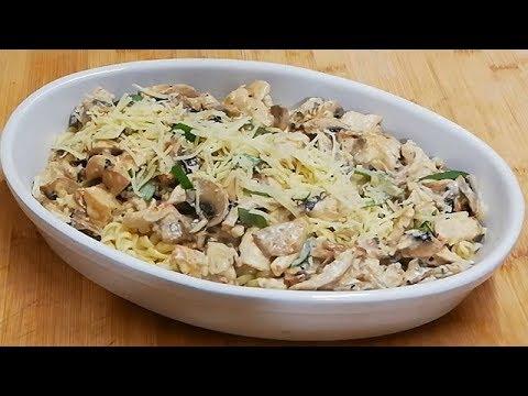 pÂtes-au-poulet-et-champignons-Économiques-facile-(cuisine-rapide)