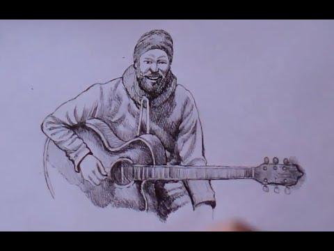 Как нарисовать музыканта карандашом