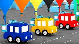 4 coches coloreados consrtruyen un lavado de autos.Dibujos animados.