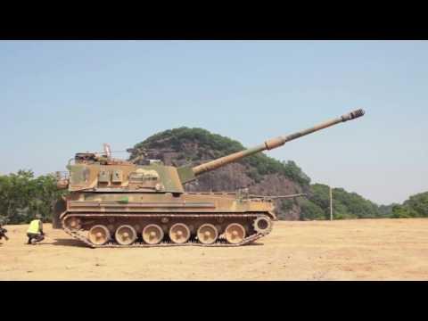 ROK Ministry Of National Defense   K 9 Thunder 155mm Self Propelled Howitzer Firing Drill 1080p