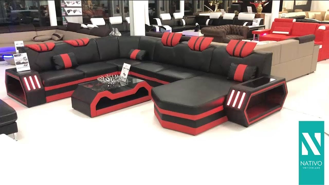 nativo m bel deutschland designer sofa clermont xxl mit led beleuchtung youtube. Black Bedroom Furniture Sets. Home Design Ideas