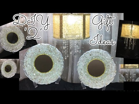 Dollar Tree DIY 2' Glam Gift Ideas || Crushed Glass Wall Decor || Gold Hanging Chandelier 2019