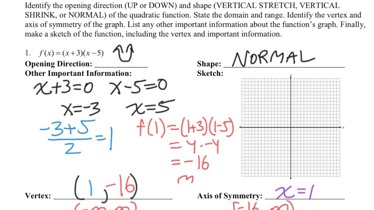 Algebra 2 - Intercept (Factored) Form of a Quadratic Function ...