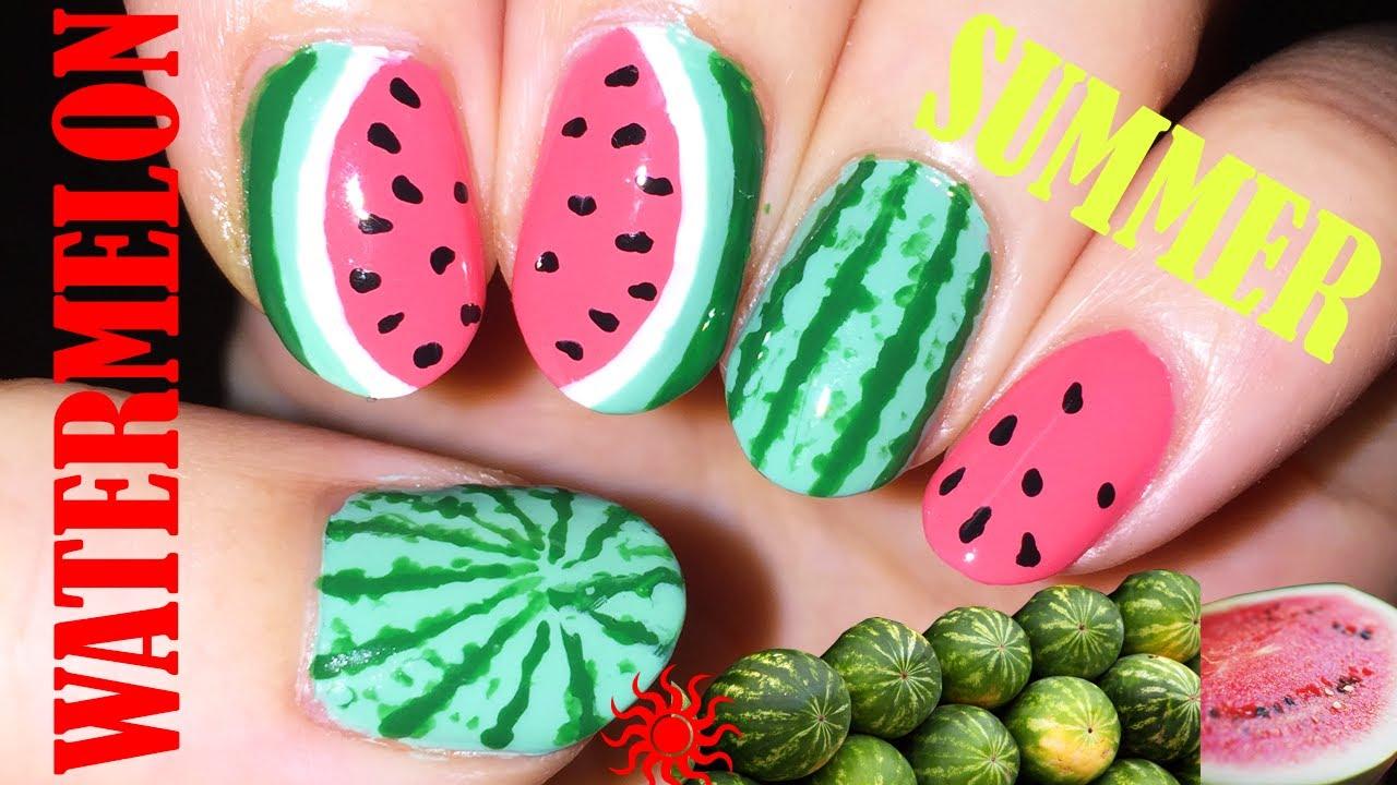 Watermelon nail art step by step tutorial - YouTube