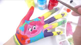Learn Colors for Children Body Painting l How to Draw Trolls Characters l How To Draw Body Paint