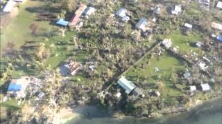 Aerial footage of Port Vila after Cyclone Pam, commentary by Koroi Hawkins