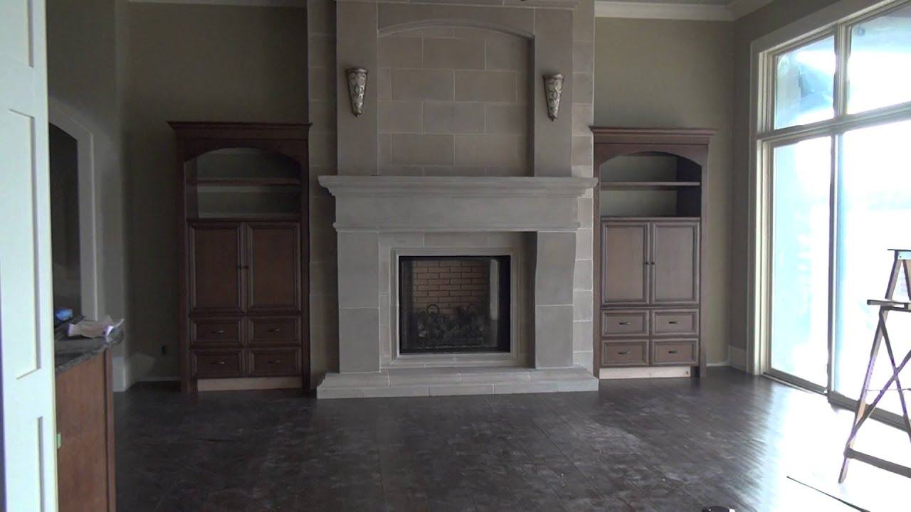 Cast-stone fireplace - YouTube