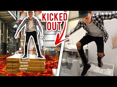 THE FLOOR IS LAVA CHALLENGE **KICKED OUT** (Intense PUBLIC Floor Is Lava In IKEA Gone Wrong)