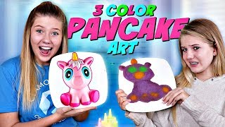 3 COLOR PANCAKE ART CHALLENGE WITH SQUISHIES || Taylor and Vanessa