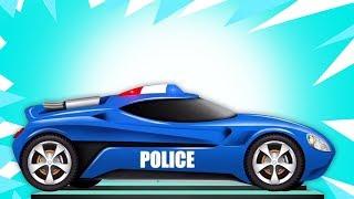 Carro de polícia futurista | Garagem do carro | Kids Vehicles | Learn Futuristic Cars | Police Car