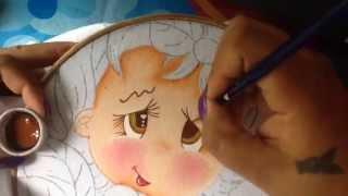 Pintura em tecido – Menina manga parte1
