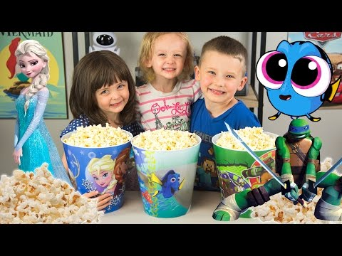HUGE Popcorn Surprise Bucket Toys Finding Dory Frozen Elsa TMNT Ninja Turtles Kinder Playtime