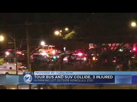 Three hospitalized in serious condition after collision involving tour bus