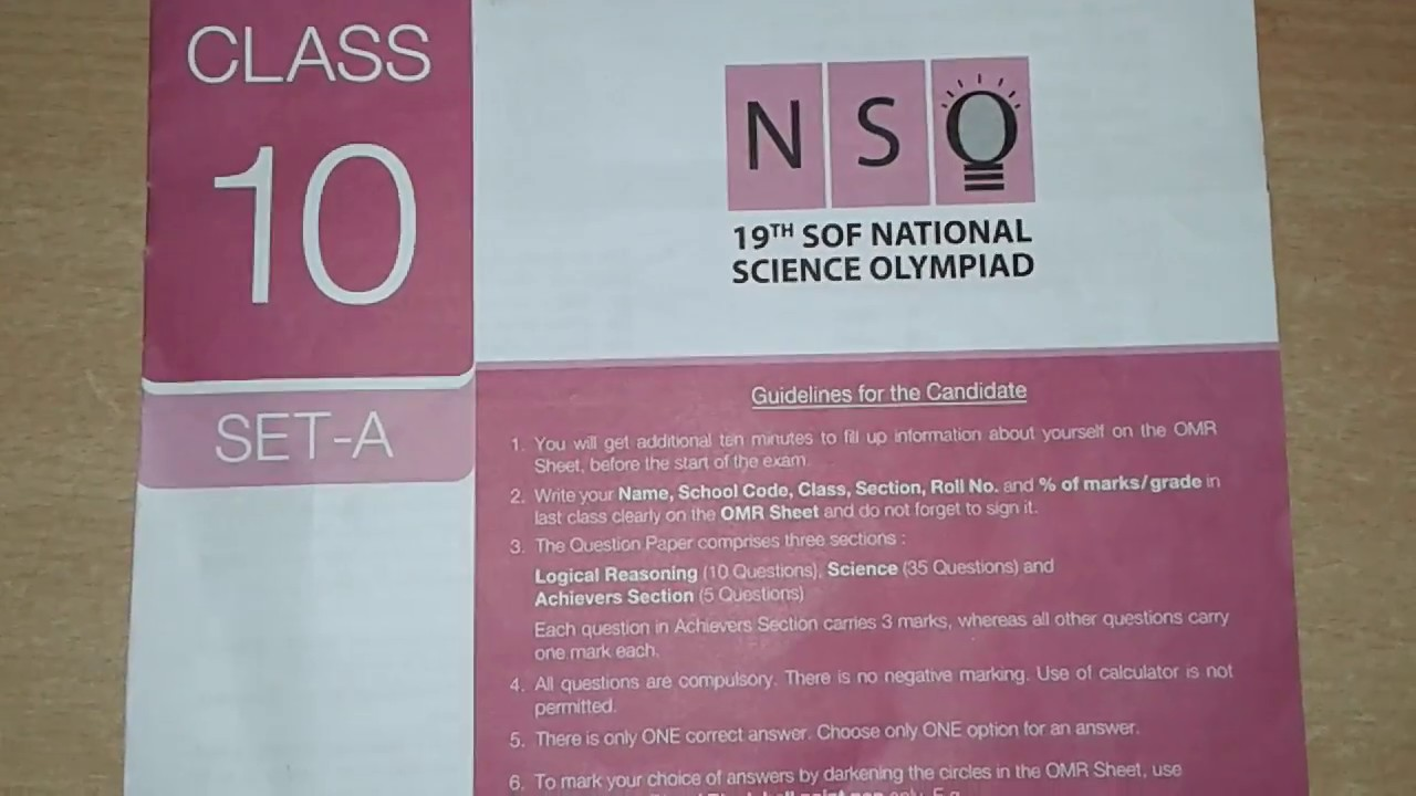 Science Olympiad Class 10 Question Paper