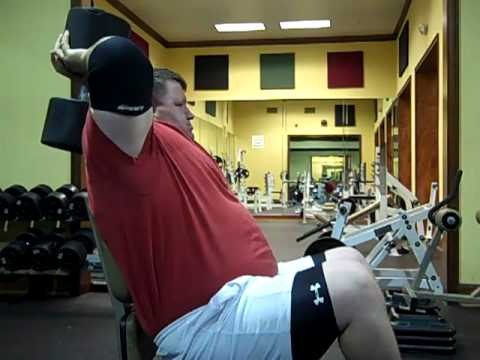 125lb Dumbbell tricep extensions! HUGE 23 inch arms ...  125lb Dumbbell ...