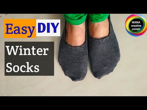 How to make winter socks at home easily# How to make winter socks from cloth# Diy socks for women