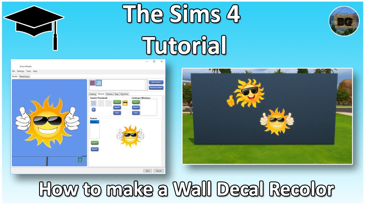 The sims 4 tutorial how to make your own custom wall sticker