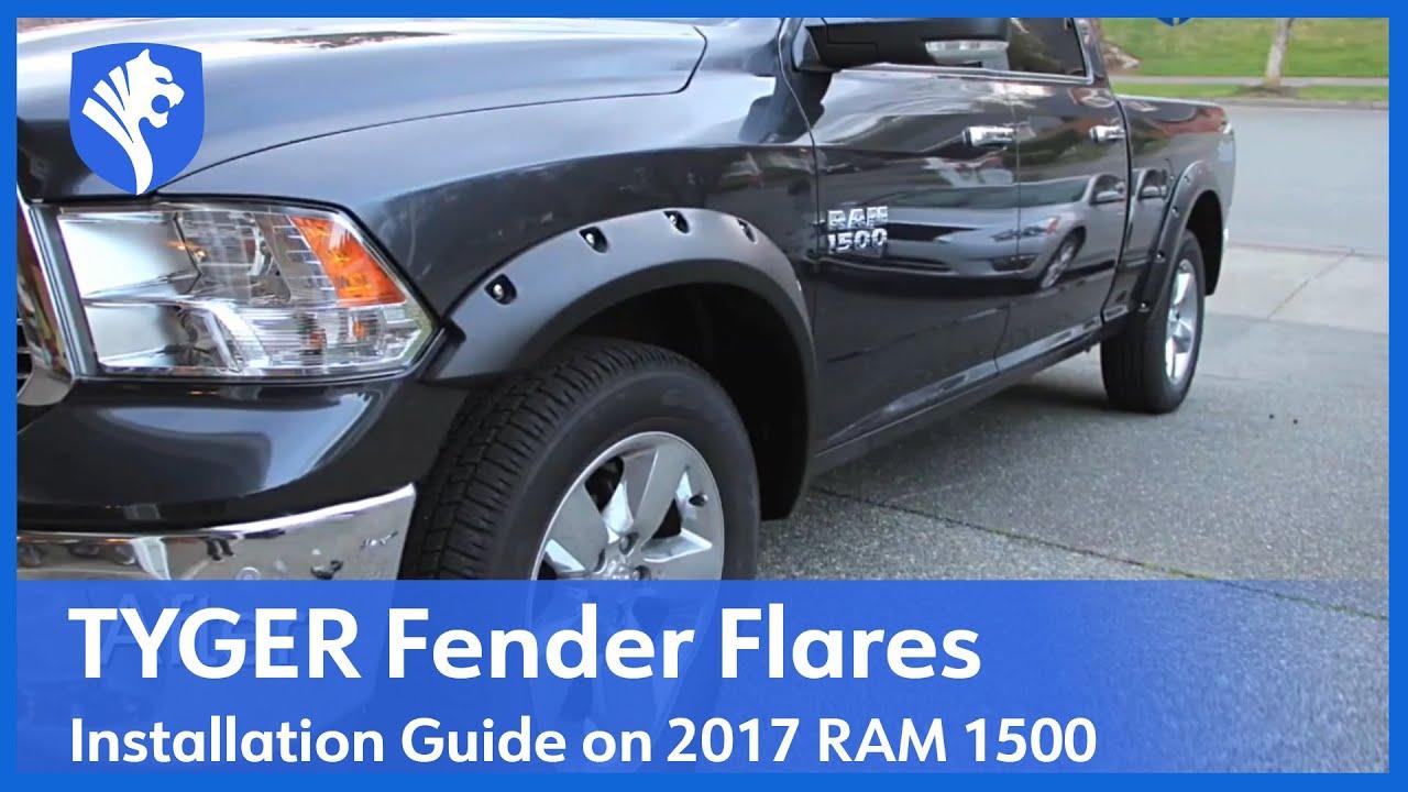 2009-2017 Dodge Ram 1500 Fender Flares Pocket Rivet Style Bolt On Black Cover