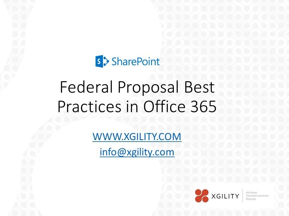 Federal Proposal Best Practices In Office 365 Youtube