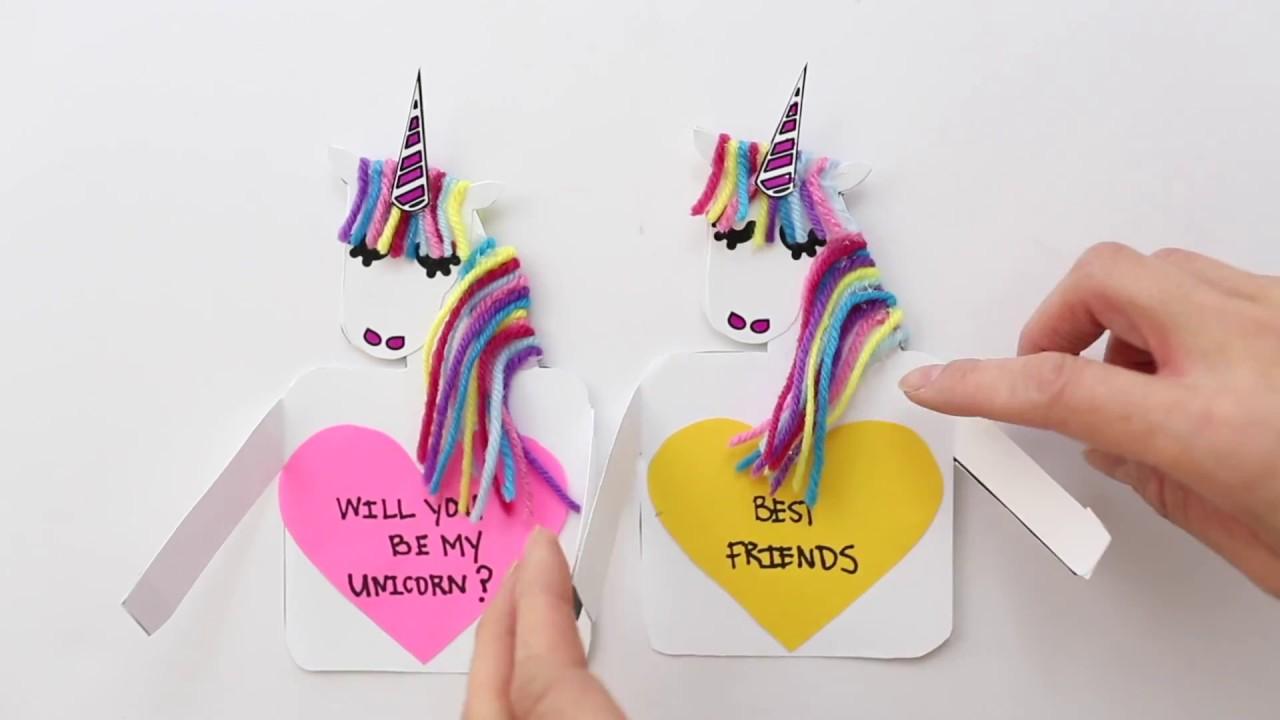 DIY Paper Unicorn Love Cards YouTube