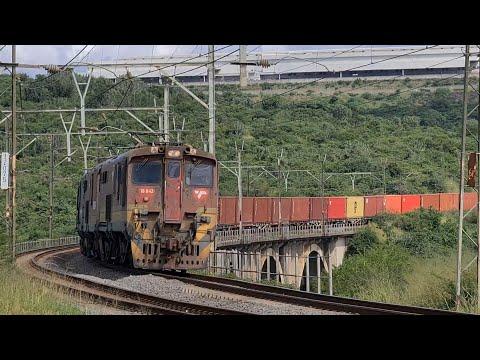Transnet/Spoornet class 18E locomotives just outside Ashburton station heading towards Durban