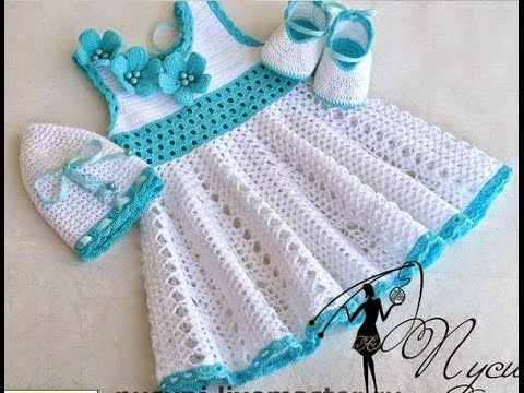 ... crochet an easy shell stitch baby / girl's dress for beginners 10