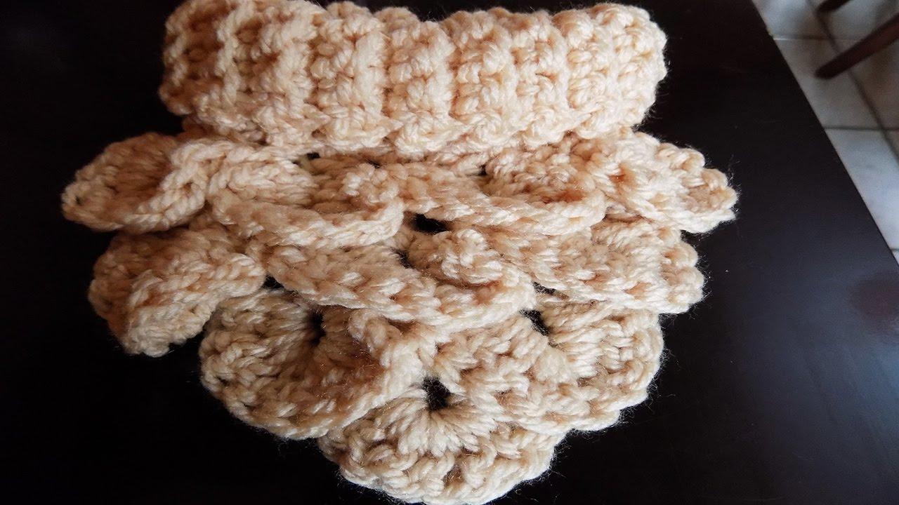 Crochet: Cuello todo en ganchillo en punto cocodrilo - YouTube
