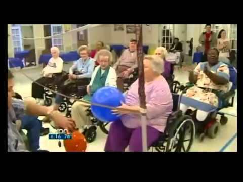 Nursing home residents prepare to play