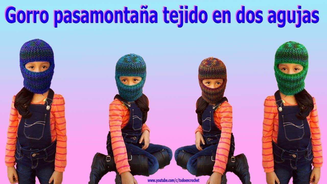 Gorro pasamontaña unisex para adultos y niños tejido a dos agujas ... 1f14add3370