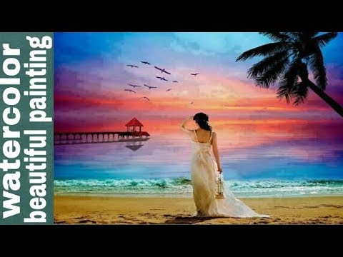 Landscape painting, beautiful romantic seascape cloudscape watercolor painting time lapse