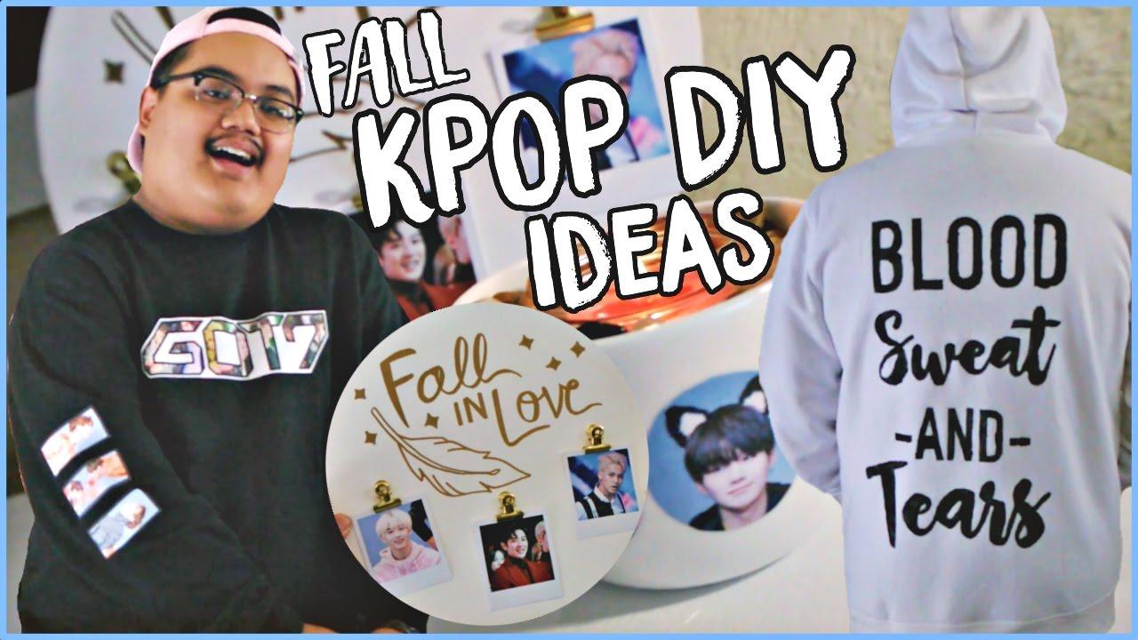 FALL DIY KPOP Ideas! (Room Decor + Sweaters) (BTS, GOT7 ... on Room Decor Bts id=75019