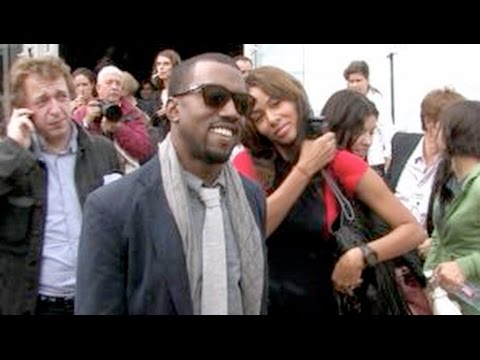 Kanye West and fiancee Alexis Phifer at Issey Miyake SS 2008 Fashion Show in Paris