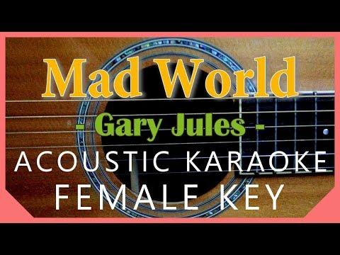 Mad World - Gary Jules [Acoustic Karaoke | Female Key]