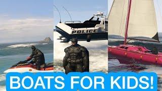 BOATS for kids BATMAN goes Fishing children cartoon, SAILBOAT JETSKI POLICE MOTORBOAT