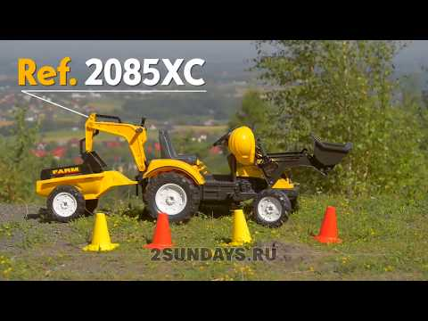 Трактор экскаватор педальный FALK 2085XC с прицепом. Видео-обзор.