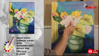 oilpainting of vase with flowe…