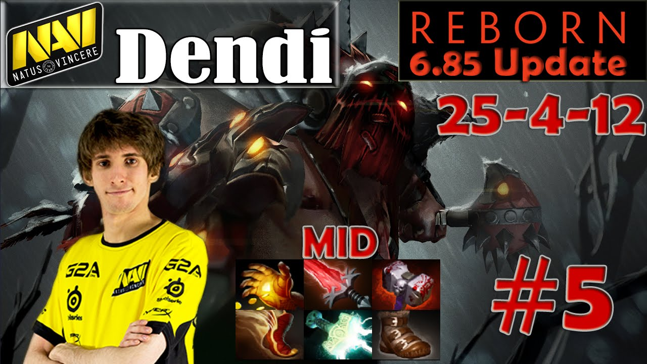 Dendi EPIC Build Pudge Midlane Pro Gameplay 25 4 Dota 2 MMR 5 YouTube
