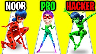 Can We Go NOOB vs PRO vs HACKER In MIRACULOUS LADYBUG & CAT NOIR?! (MIRACULOUS LADYBUG APP GAME!)