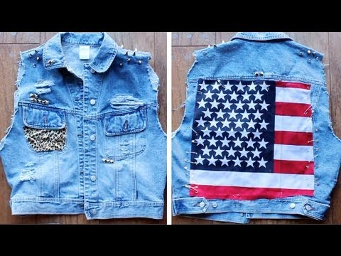 DIY: Denim Shredded Studded Leopard American Flag Vest