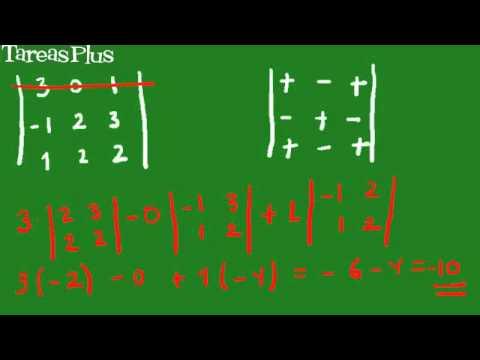 Cálculo de determinantes de 2x2 y 3x3 por cofactores
