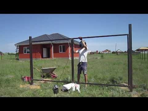 Как сварить ворота из профтрубы своими руками схема