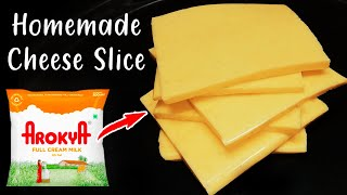 Homemade Cheese Slice | How to make Cheese Slice at home With Cheese Sandwich | Instant Cheese slice