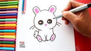 Cómo dibujar un Conejito fácil en pocos pasos | Colorear Conejo Kawaii Dibujos fáciles para Niños