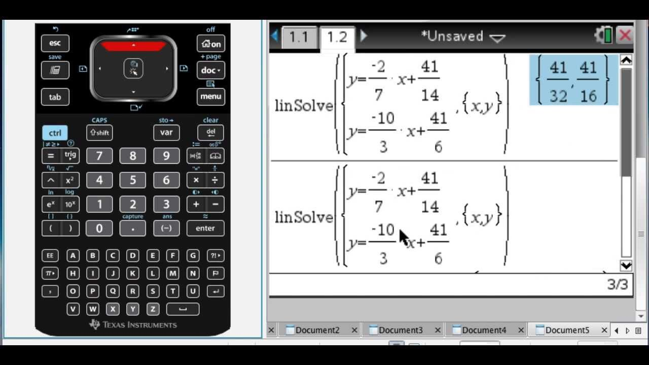 Solving System of Linear Equations on TI-Nspire