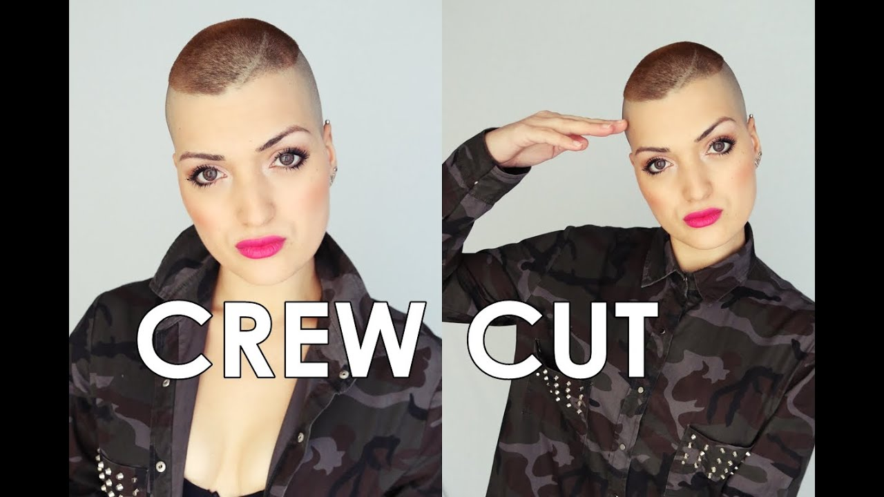 military haircut linea tattoo and bald girl /crew cut/ corte de