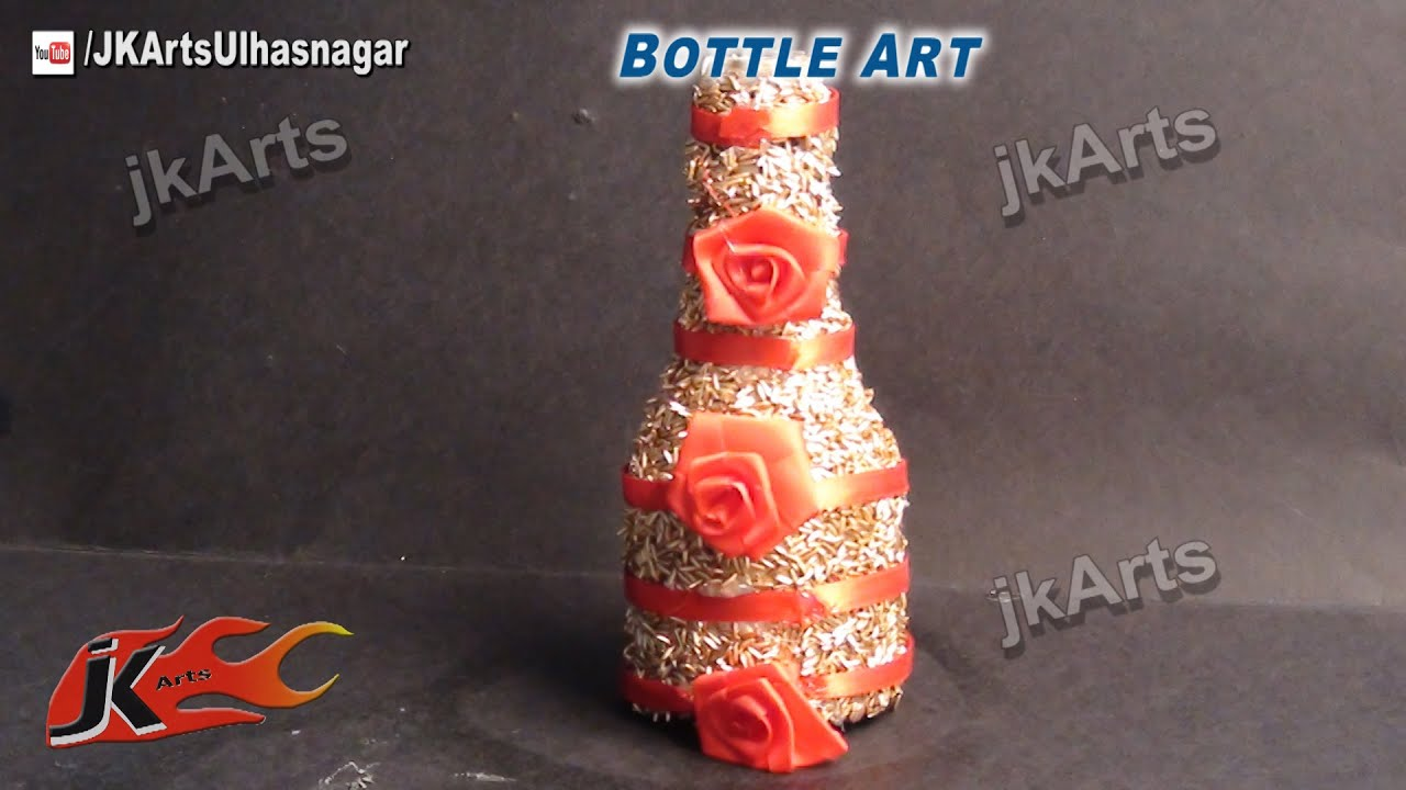 How to decorate glass bottle with rice best out of waste for Decoration with waste bottles